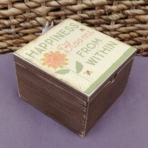 """Happiness Blooms From Within"" Small Wood Box"