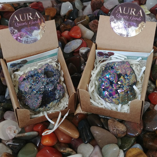 Aura Geode In Box, Peacock Color
