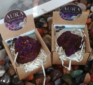 Aura Geode In Box, Purple-Gold