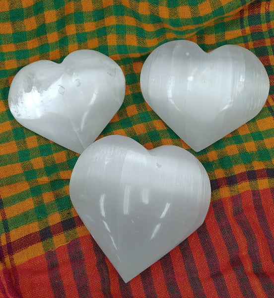 White Selenite Large Gemstone Heart