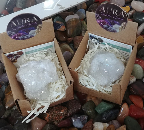 Aura Geode In Box, White