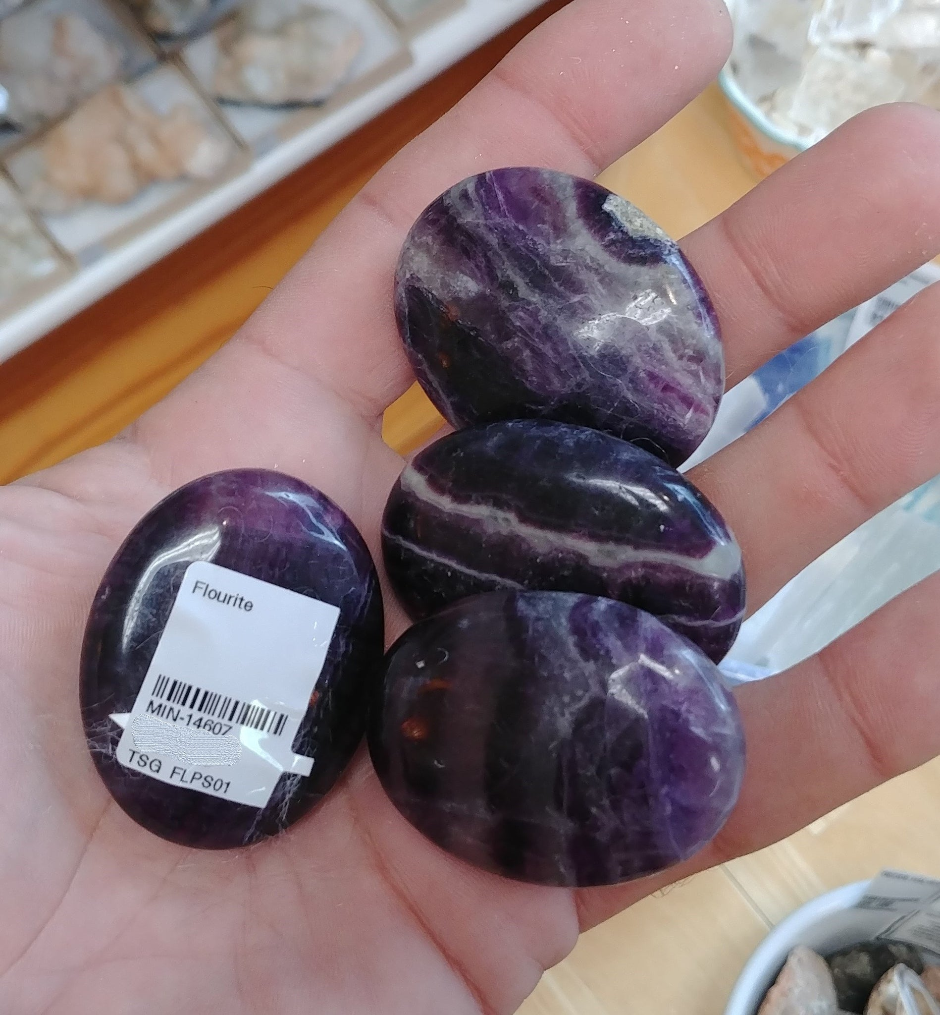 Fluorite Small Palm Stone - Purple