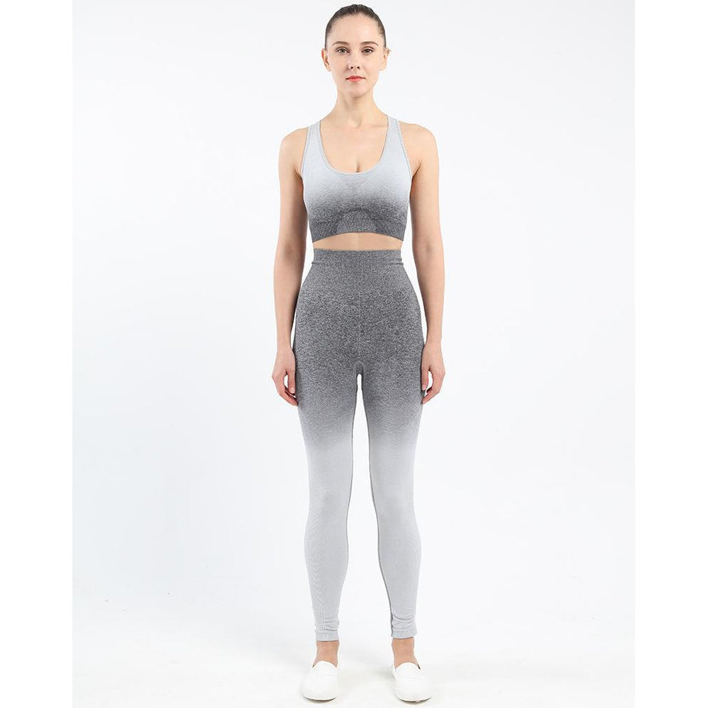 Ombre Hollow Leggings - Grey White