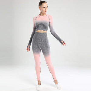 Ombre Hollow Leggings - Dark Grey Pink