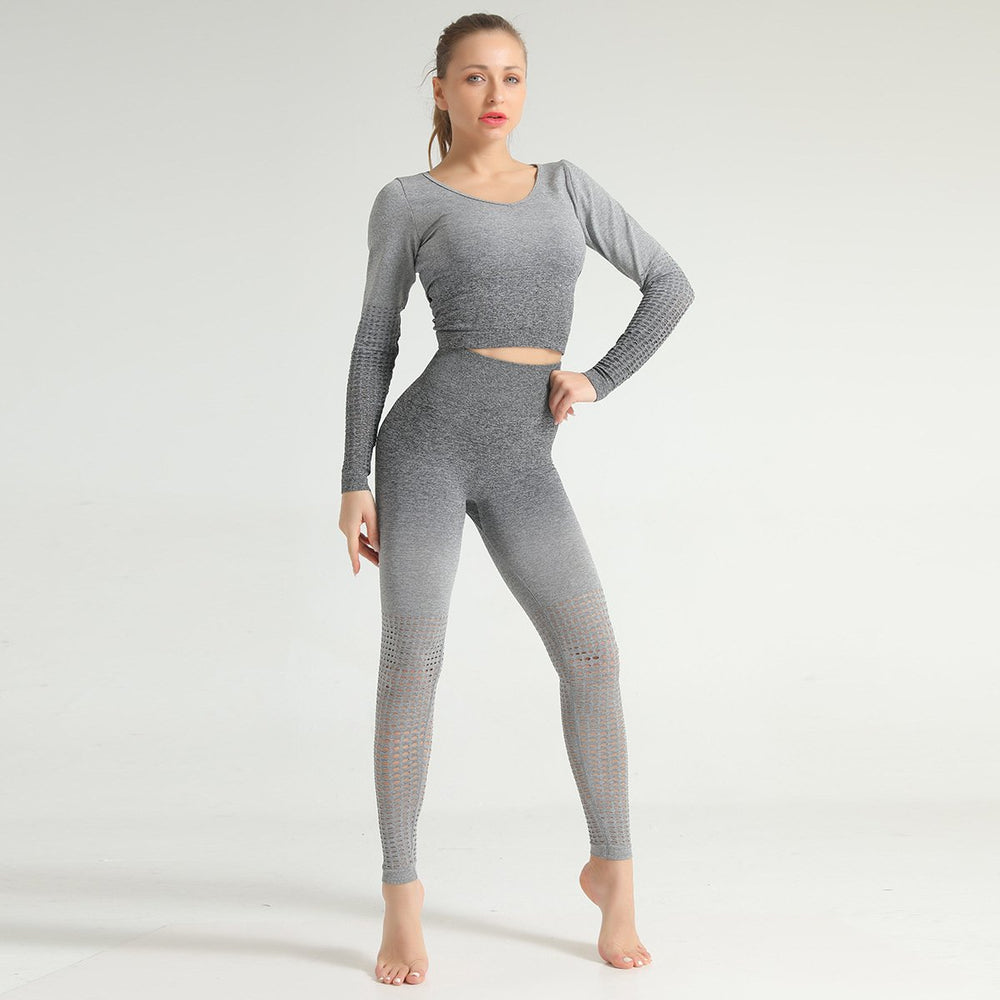 Ombre Hollow Leggings - Grey