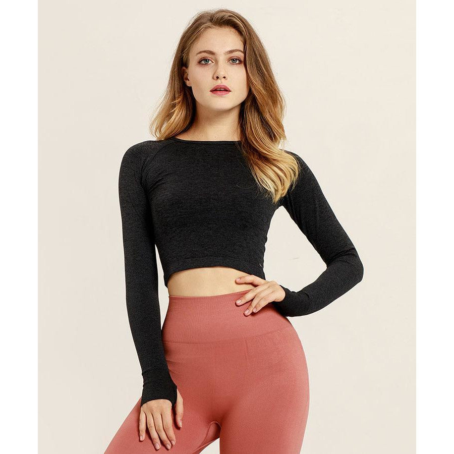 Ombre Cropped Tops - Black