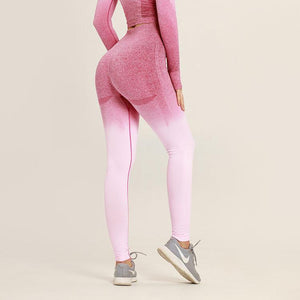 Ombre Hollow Leggings - Dark Pink Light Pink