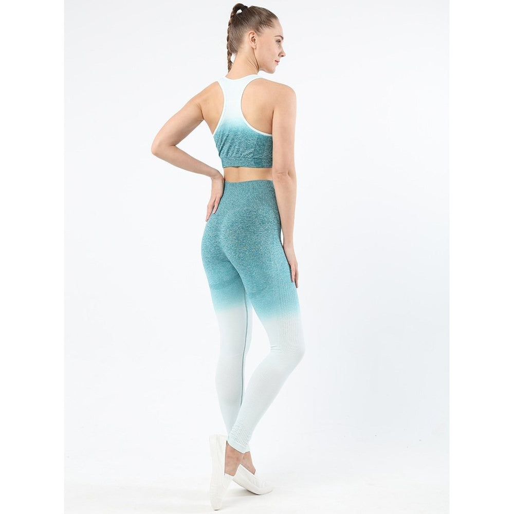 Fashion Forward 21 - Ombre Hollow Leggings - White Blue