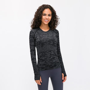 Load image into Gallery viewer, Seamless Long Sleeve Top - Black Camo