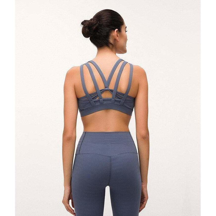 Butterfly Backless Top - Grey Blue