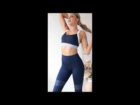 Load and play video in Gallery viewer, Stripes, Racerback Sports Bra + Push Up Leggings - Blue