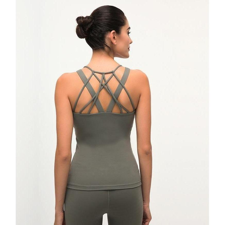 Fashion Forward 21 - Cross Back Tank Top - Moss Green