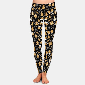 Christmas Golden Snowman Leggings - Black