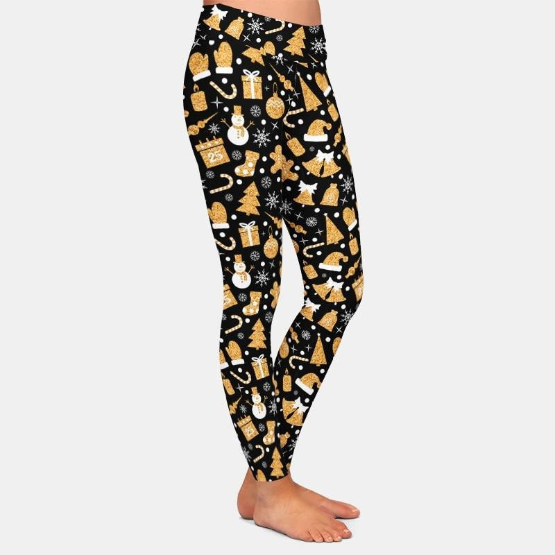 Christmas Golden Snowman leggings