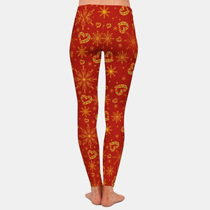 Christmas Heart Shaped Candy Canes Leggings - Red