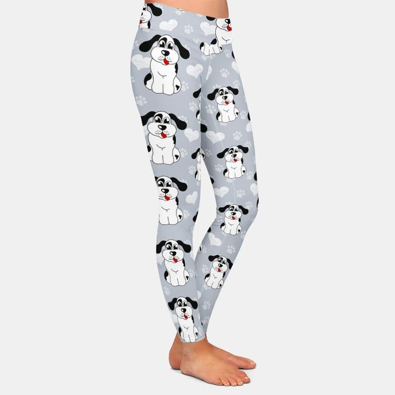 Dog Heart Leggings - Grey