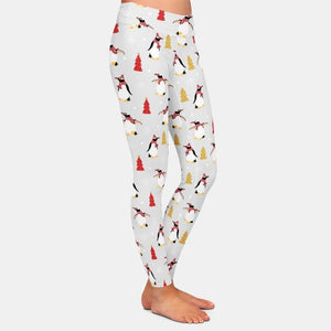 Load image into Gallery viewer, Christmas Penguin Leggings - White