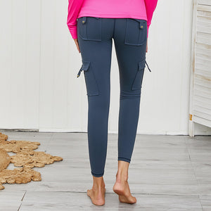 Load image into Gallery viewer, Tatum Cargo Pocket Push up Leggings - Dark Blue