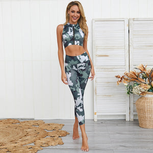 Women's Camouflage Zipper Sports Bra + Push Up Leggings - Army Green