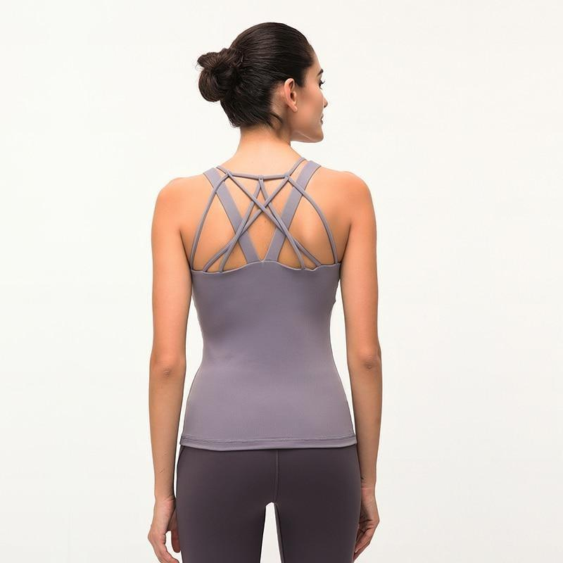 Cross Back Tank Top - Khaki Grey