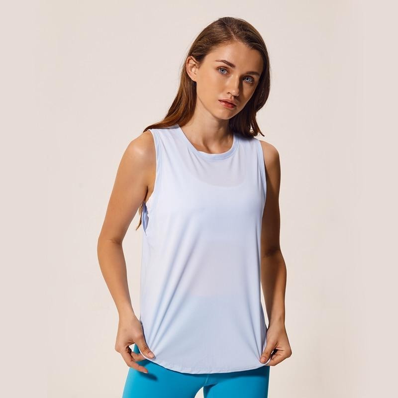 Fashion Forward 21 - Mesh Patchwork Tank Tops - Light Blue