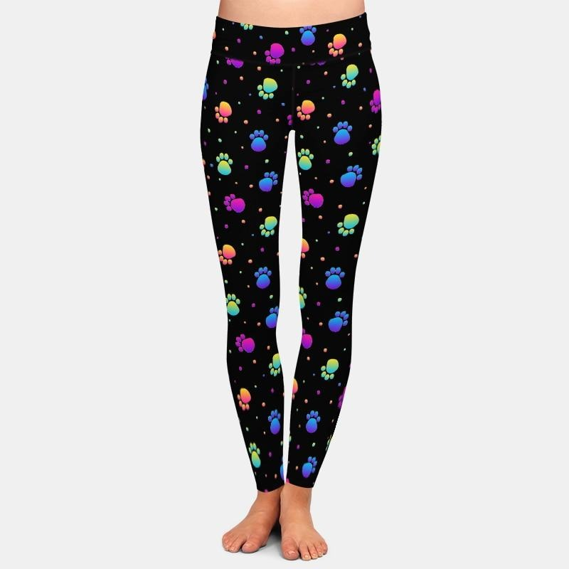 Multicolor Pawprint Leggings - Black
