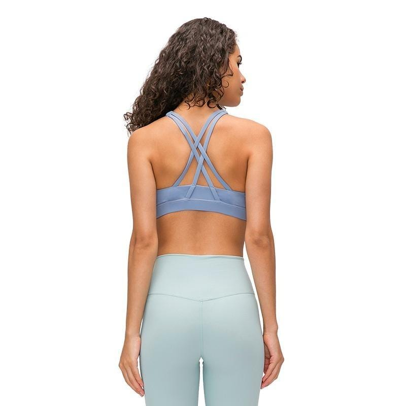 Cross back Support Crop Tops - Ice Blue