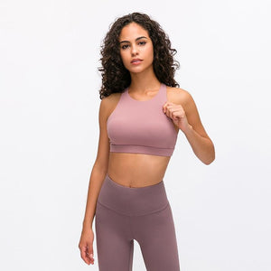 Fashion Forward 21 - Rose Pink Cross back Support Crop Tops