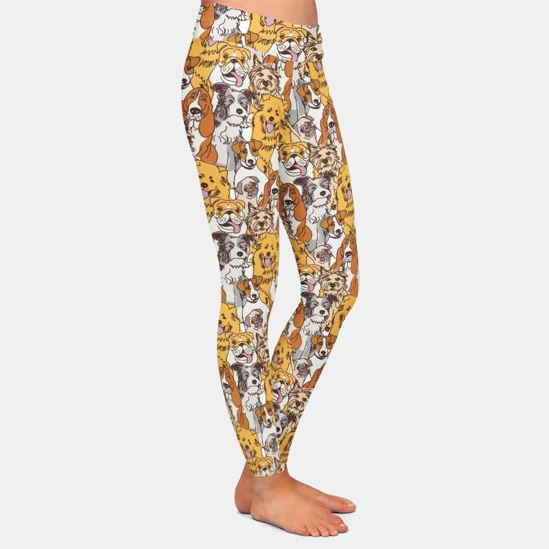 Sketch Dogs Design Leggings