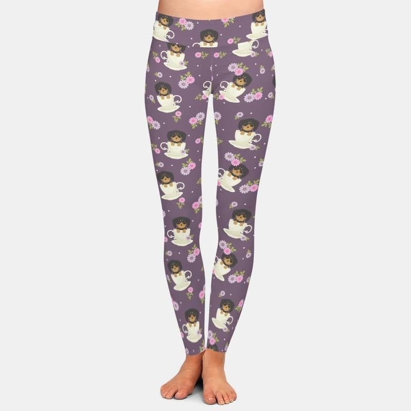 Coonhound in a Cup Leggings - Purple