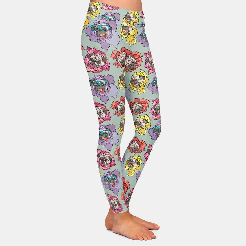 Pug with glasses and Flower Leggings - Grey