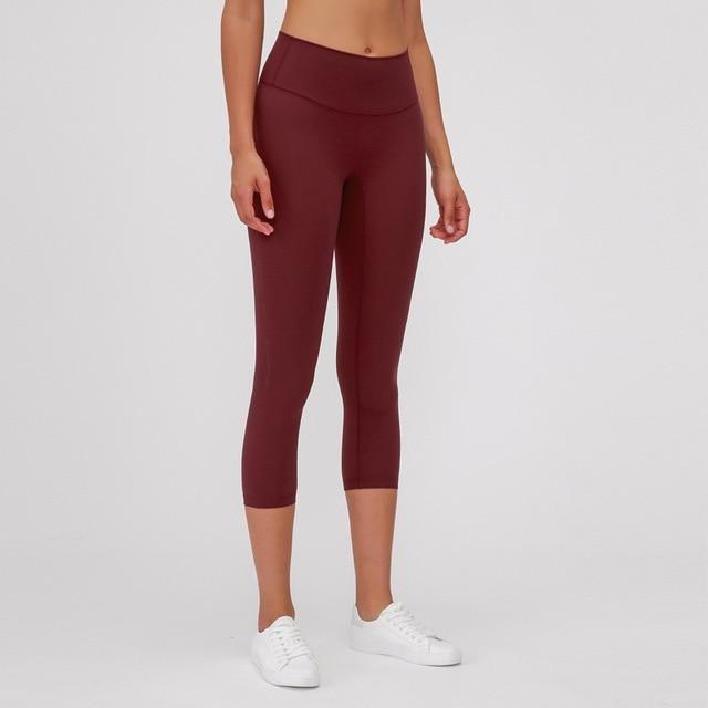 Maroon Ankle Naked-Feel Leggings