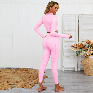 Load image into Gallery viewer, Tracksuit Long Sleeve top + Push Up Leggings- Pink