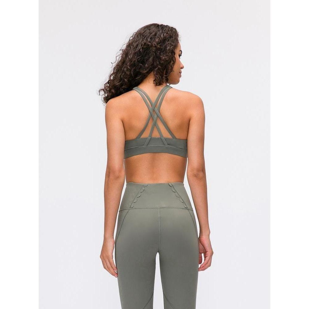Cross back Support Crop Tops - Moss Green