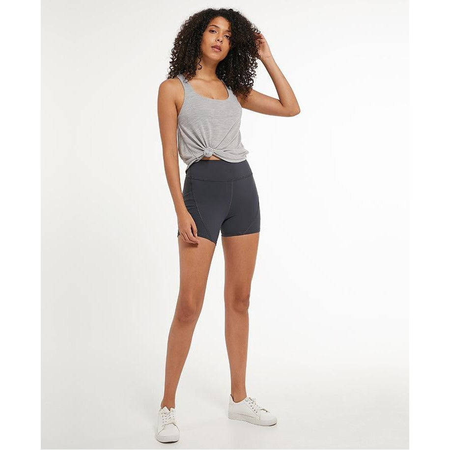 Fashion Forward 21 - Yoga Women's High Waist Pocket Shorts - Grey