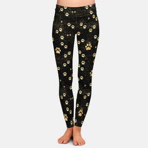 Golden Pawprint Leggings - Black
