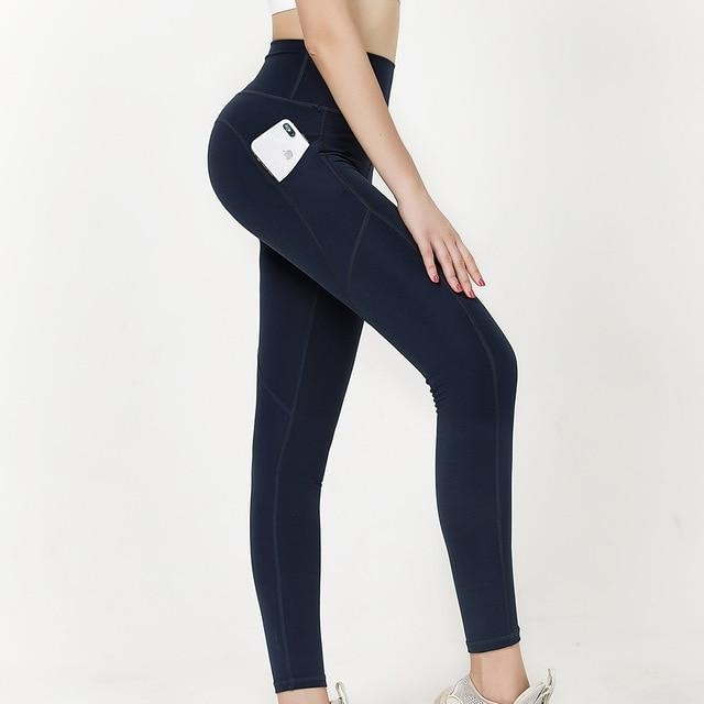 High Waist 7/8 Ankle Legging with Side Pockets - Dark Blue