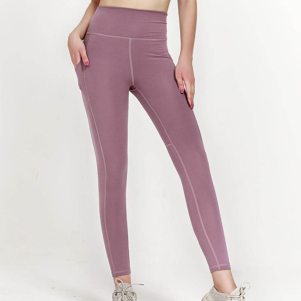High Waist 7/8 Ankle Legging with Side Pockets - Purple