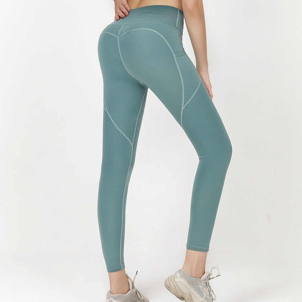 High Waist 7/8 Ankle Legging with Side Pockets - Pea Green