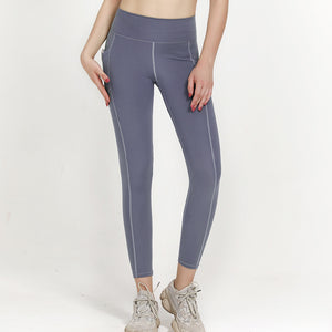 High Waist 7/8 Ankle Legging with Side Pockets - Light Blue