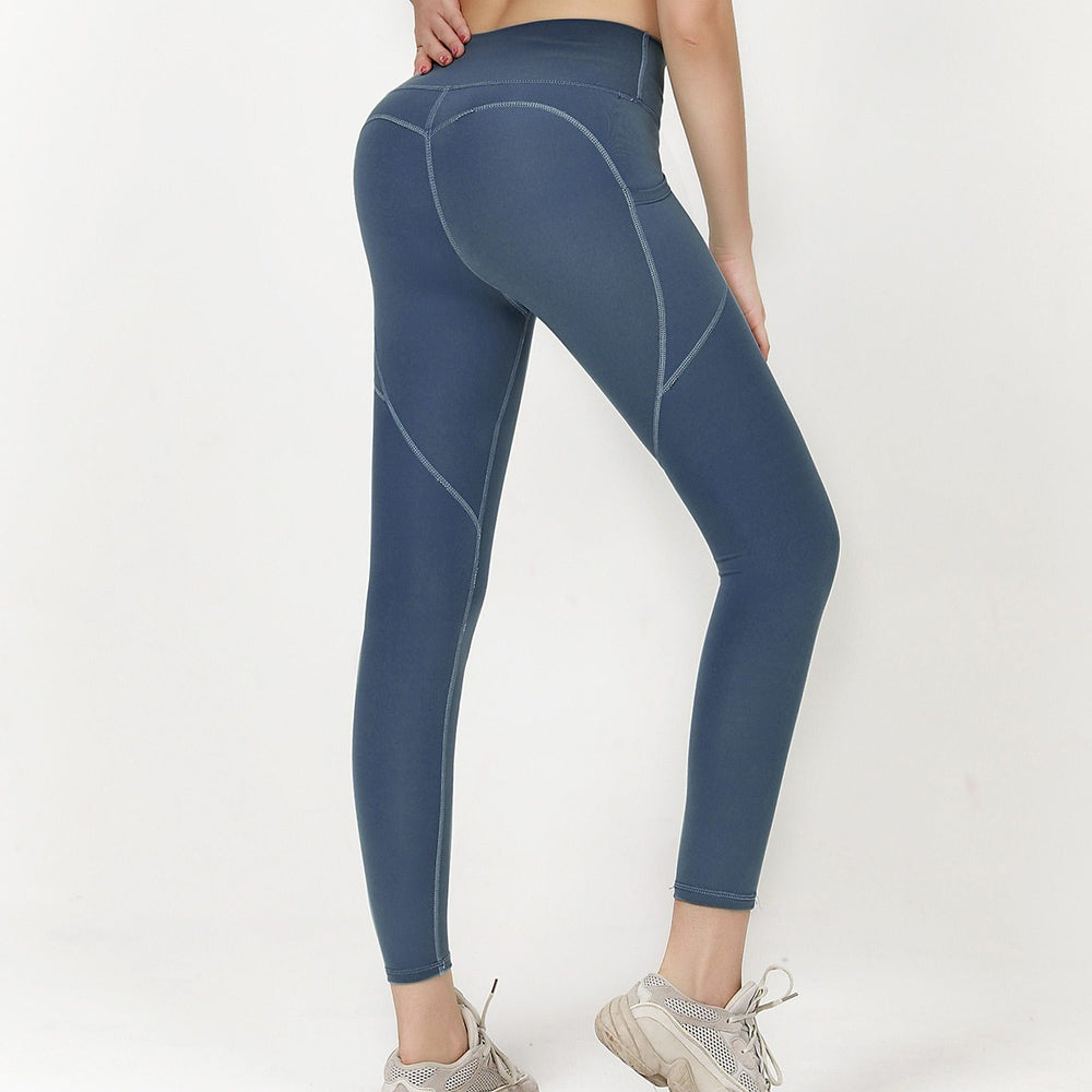 High Waist 7/8 Ankle Legging with Side Pockets - Blue
