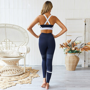 Stripes, Racerback Sports Bra + Push Up Leggings - Blue