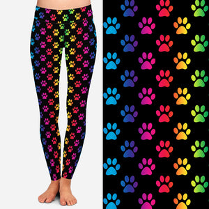 Load image into Gallery viewer, Colorful Dog Paw Leggings