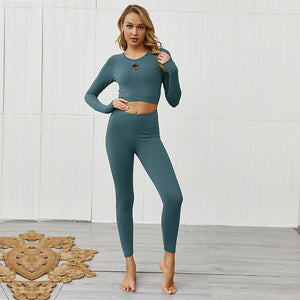 Hollow Out Round Neck Long Sleeve + Push Up Leggings- Green