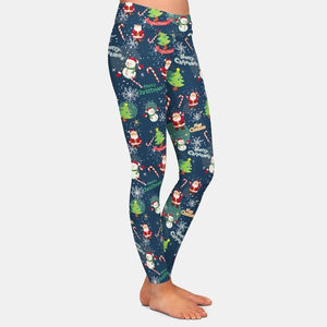 Christmas snowman and snowflakes leggings