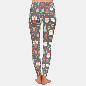 Load image into Gallery viewer, Christmas with Santa Claus Leggings - Brown