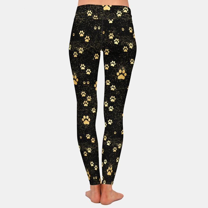 Load image into Gallery viewer, Golden Pawprint Leggings - Black