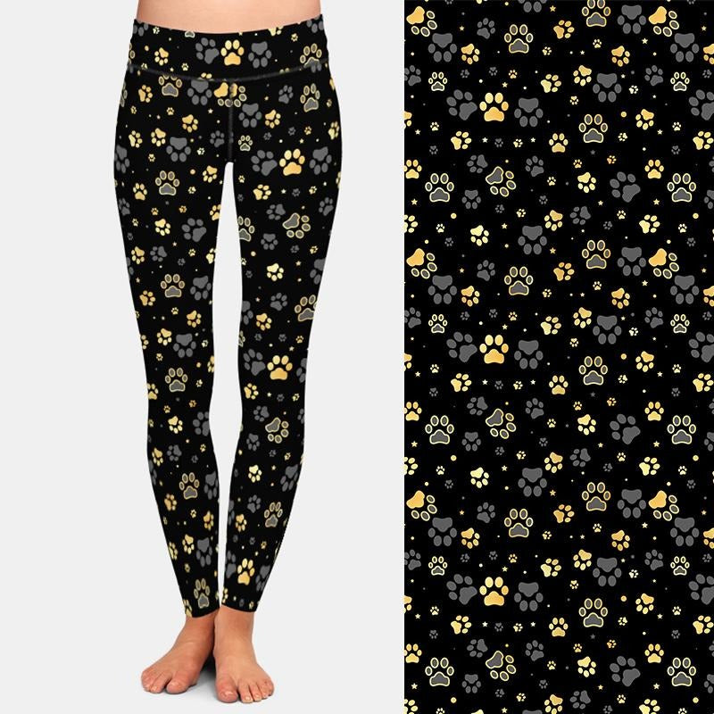 Load image into Gallery viewer, Black and White Pawprint Leggings - Black