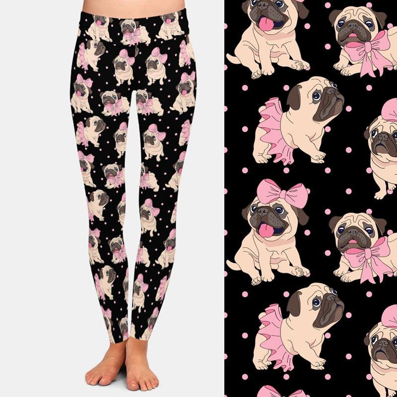 Load image into Gallery viewer, Pug with Bow and Tutu Leggings - Black