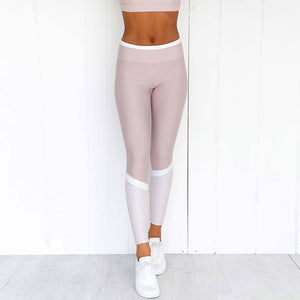 Load image into Gallery viewer, Stripe Printed Patchwork Sports Bra + Push Up Leggings - Lavender Blush